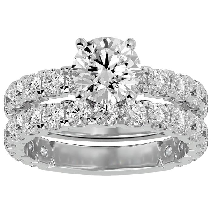 3 1/2 Carat Round Diamond Bridal Ring Set in 14K White Gold (6 g) (