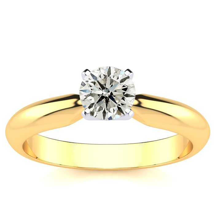 1/2 Carat Round Diamond Engagement Ring in 14k Yellow Gold,  by SuperJeweler