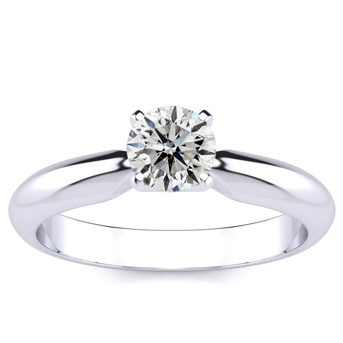 1/2ct Round Diamond Engagement Ring in 14k White Gold, J/K, I2 ...