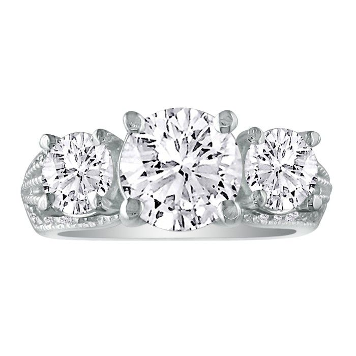 3 3/4 Carat Three Diamond Engagement Ring in 14k White Gold (9.7 g), G/H Color by SuperJeweler