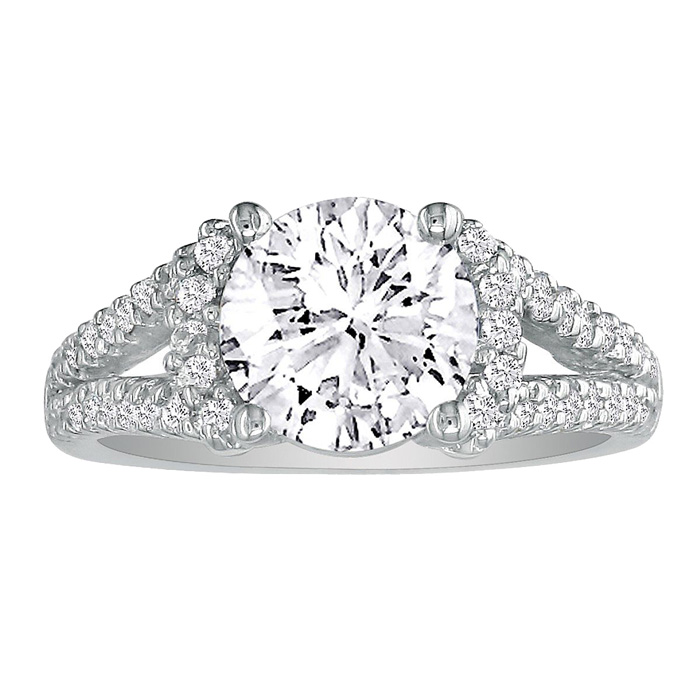 2 1/3 Carat Halo Diamond Engagement Ring in 14K White Gold, Split Shank,  by SuperJeweler