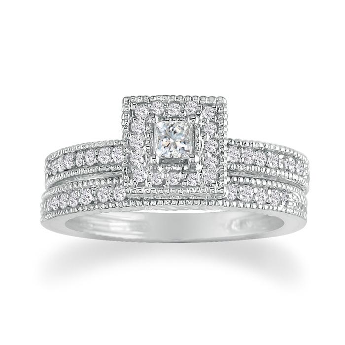 1 Carat Princess Cut Diamond Bridal Engagement Ring Set in 14k White Gold (7.4 g),  by SuperJeweler