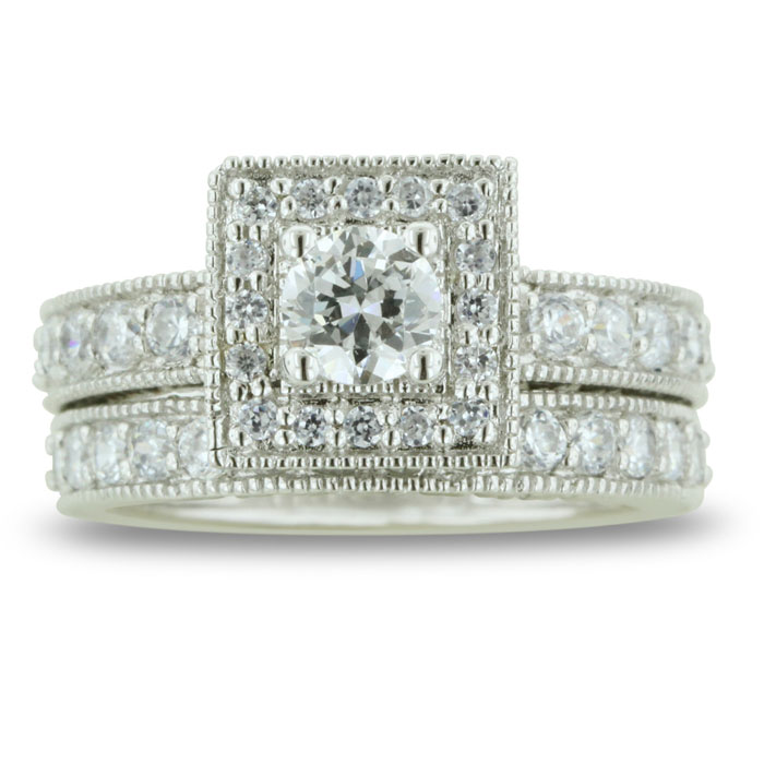 1.5 Carat Princess Cut Diamond Bridal Engagement Ring Set in 14k White Gold (8.3 g),  by SuperJeweler