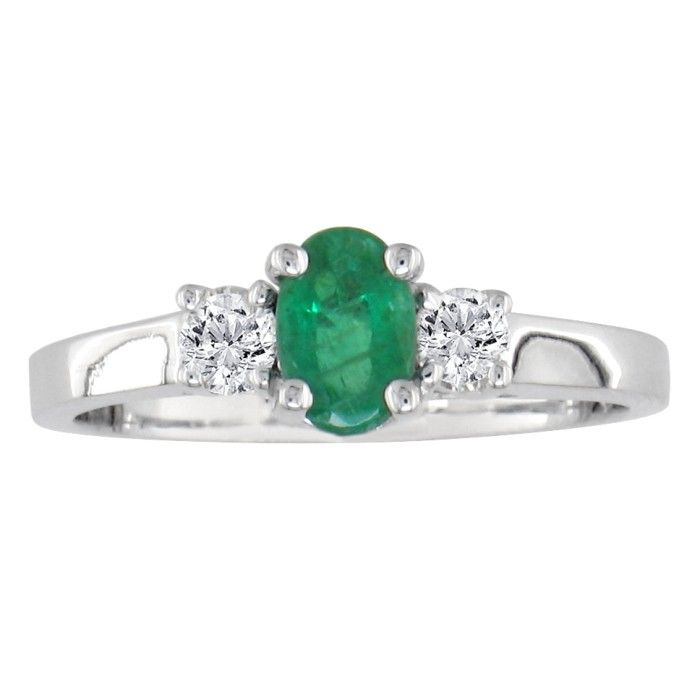 Image of .70ct Emerald and Diamond Ring in 14k White Gold