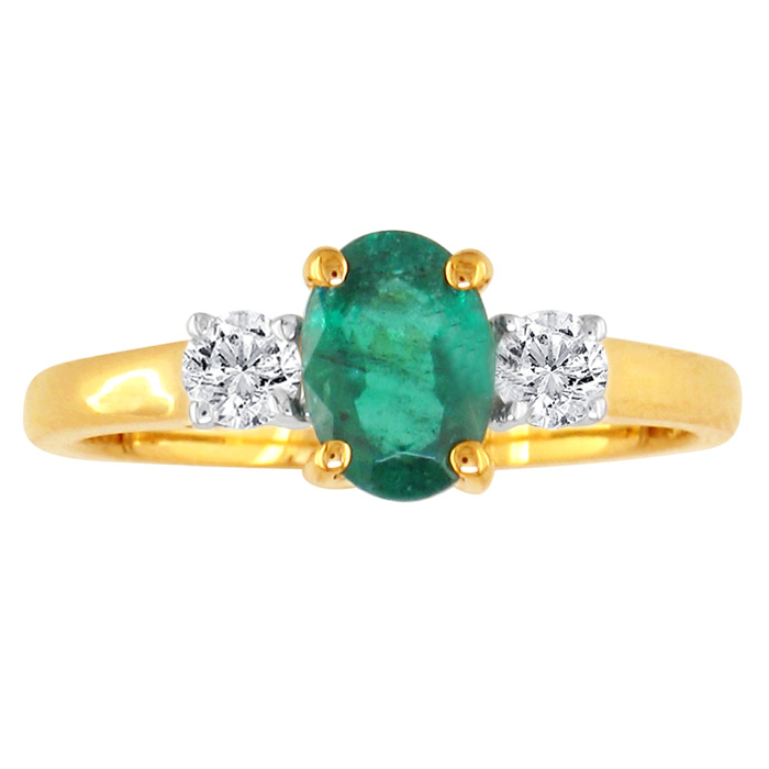 Image of .70ct Emerald and Diamond Ring in 14k Yellow Gold