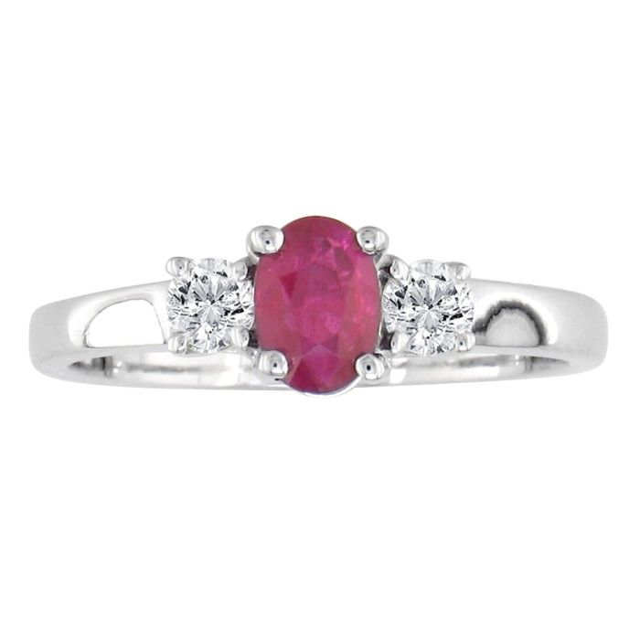 Image of .80ct Ruby and Diamond Ring in 14k White Gold