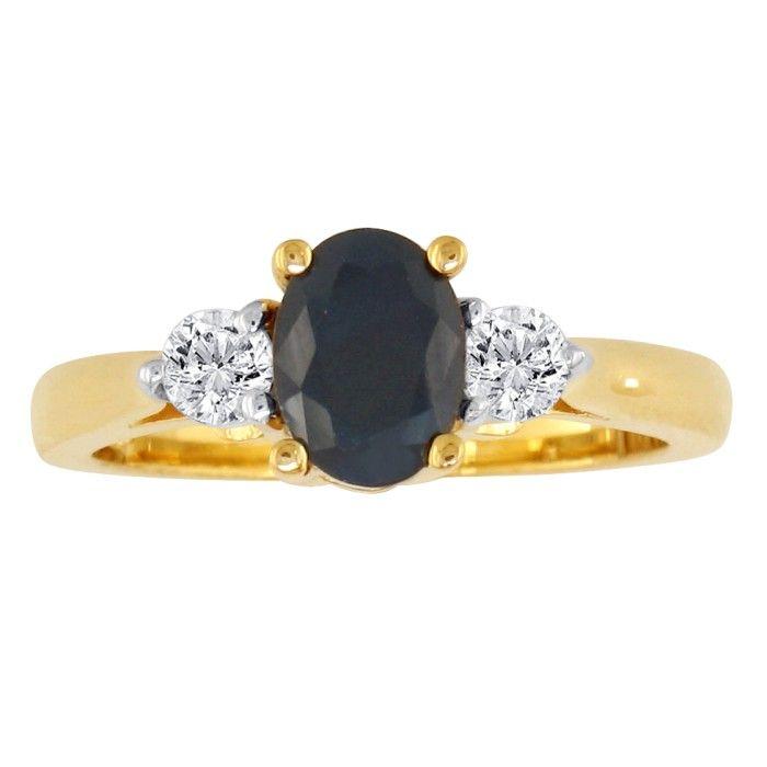 1.20 Carat Sapphire & Diamond Ring in 14k Yellow Gold, G/H by SuperJeweler