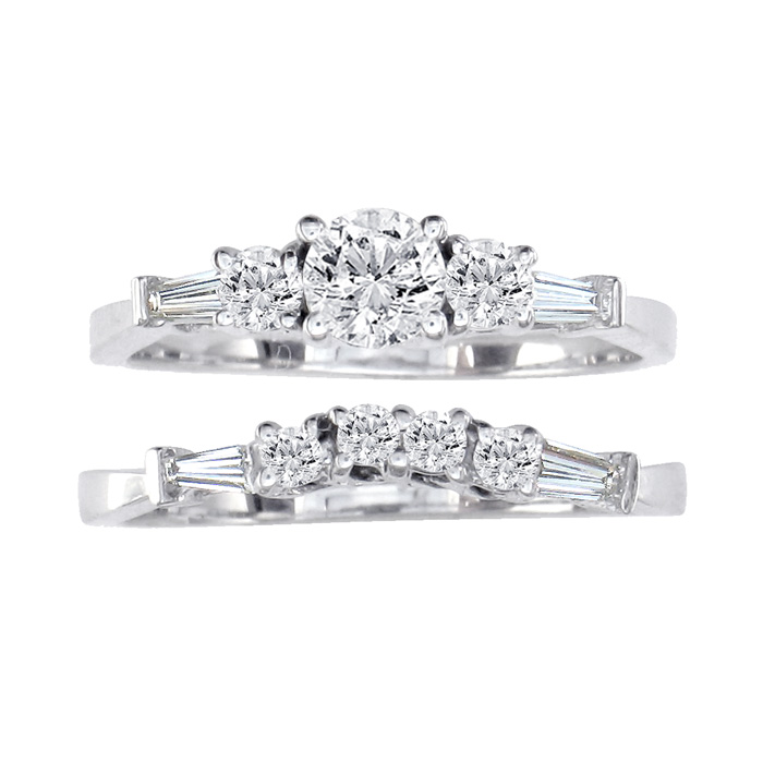 Image of .81ct Diamond Bridal Set With 1/3ct Center Diamond in 14k White Gold