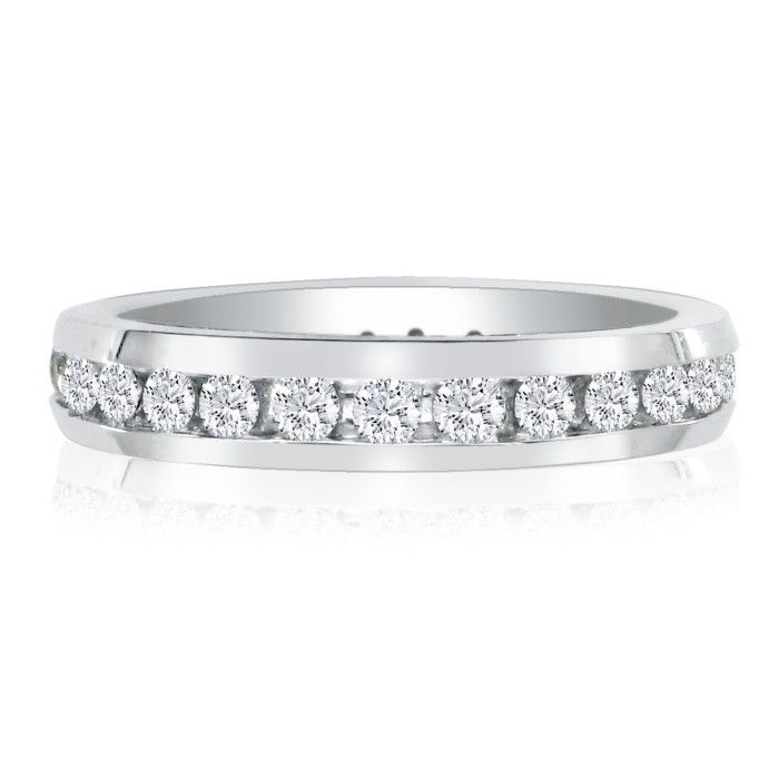 Image of 1ct Channel Set Round Diamond Eternity Band in 14k WG, H-I , SI2-I1, 4-9.5