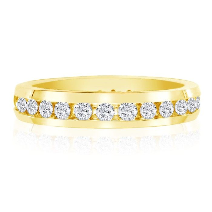 Image of 4ct Channel Set Round Diamond Eternity Band in 14k YG, 4-9.5
