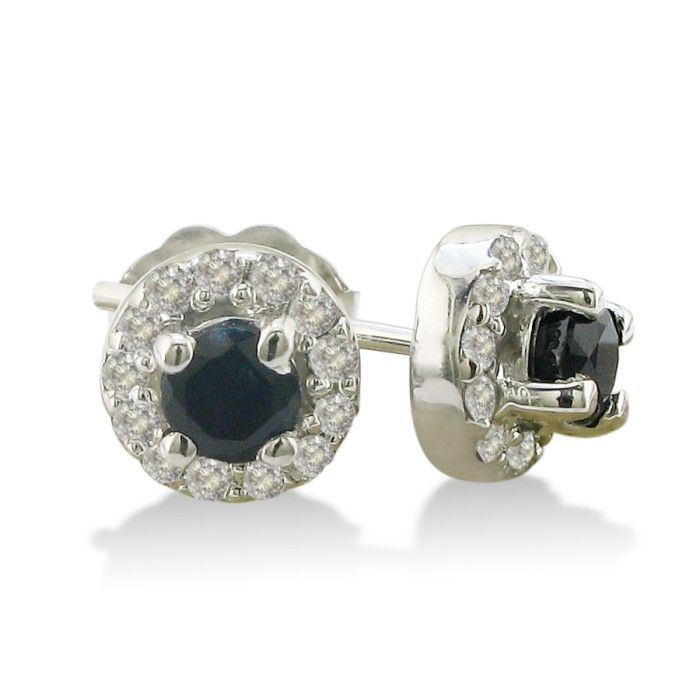 1/3ct Blue Sapphire Stud Earrings With Pave