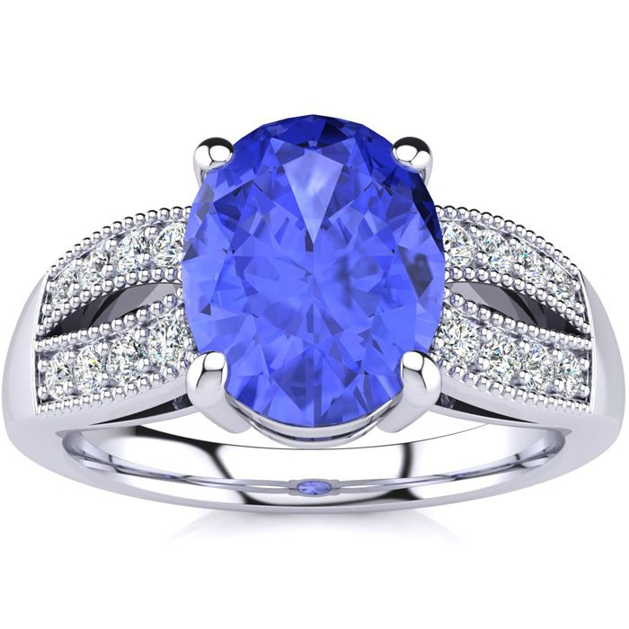 1 3/4ct TWG Tanzanite and Diamond Ring in 18k White Gold ShopFest Money Saver