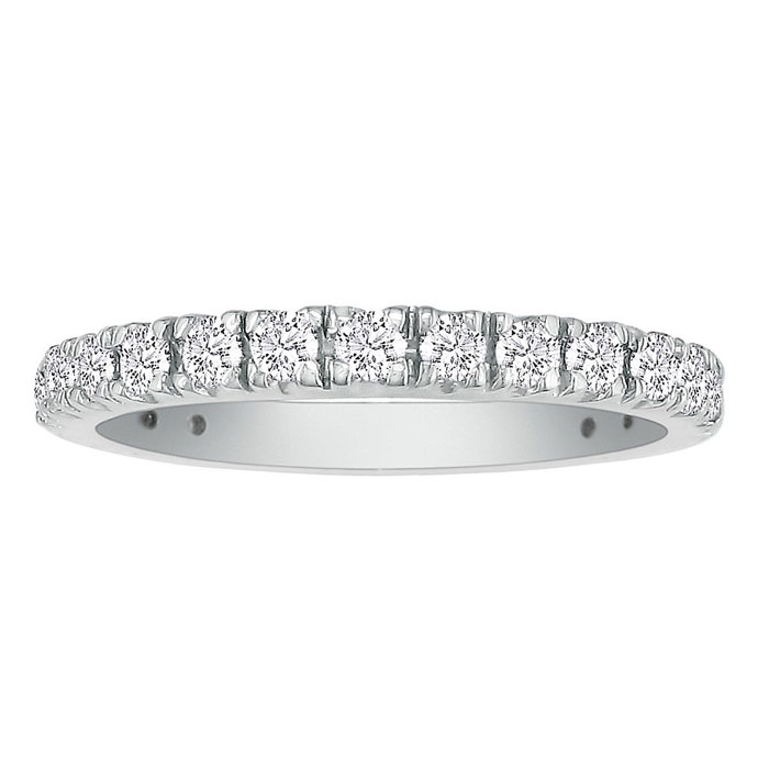 2/3 Carat Diamond Almost Eternity Wedding Band in 14k White Gold (2.7 g), G/H Color by SuperJeweler