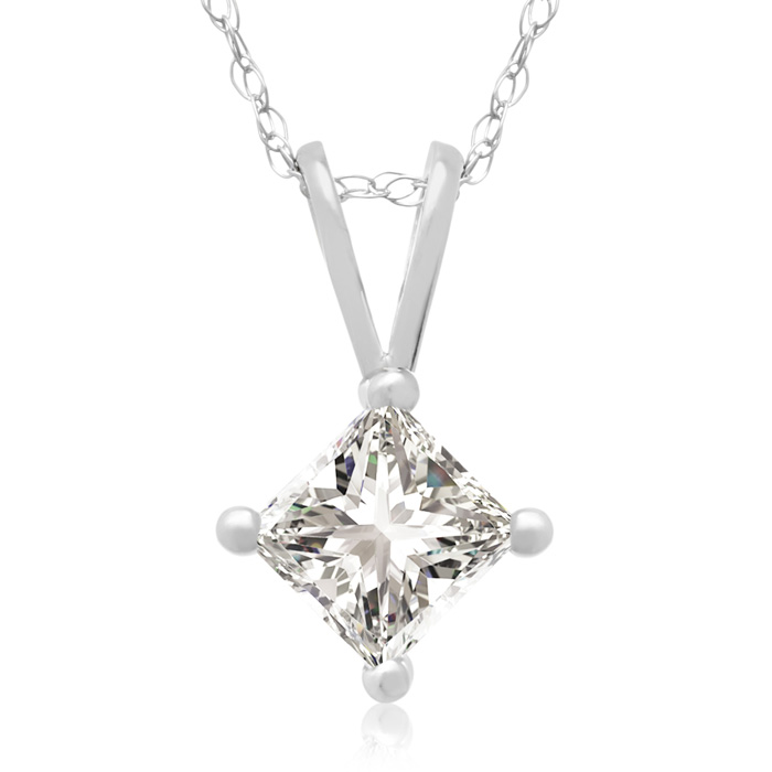 1/2 Carat Princess Cut Diamond Pendant Necklace in 14k White Gold