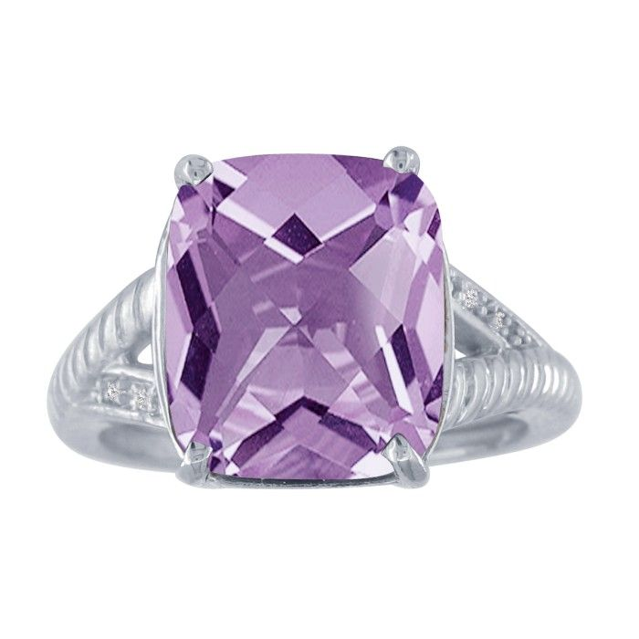 5ct Amethyst and Diamond Ring in 10k