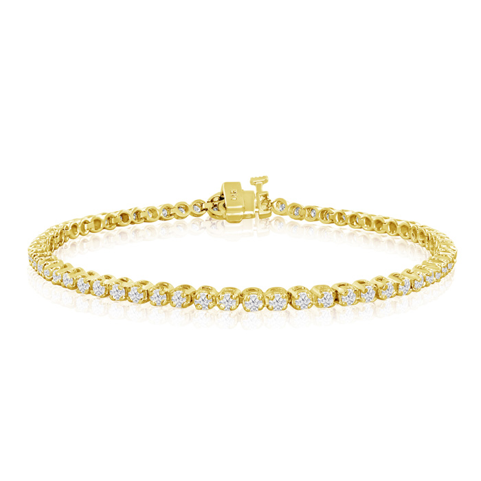 Image of 2ct Round Based Diamond Tennis Bracelet in 14k Yellow Gold