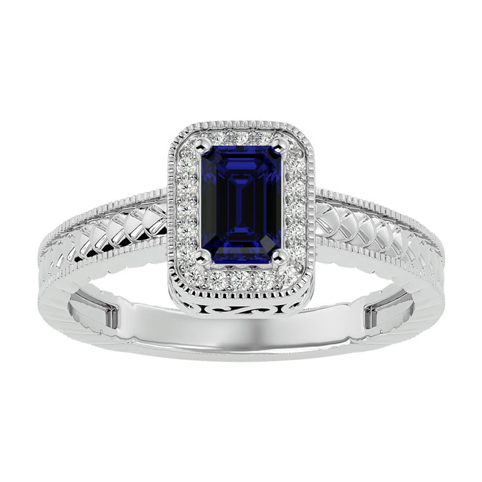 Image of .85ct Antique Style Sapphire and Diamond Ring in 10k White Gold