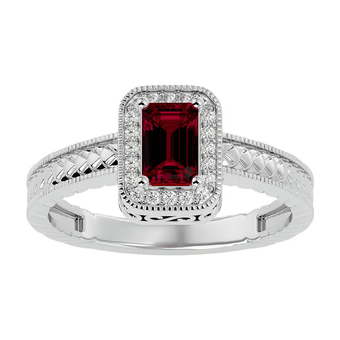 Image of .85ct Antique Style Ruby and Diamond Ring in 10k White Gold