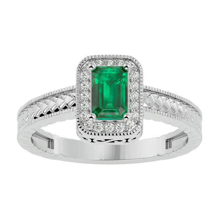 Antique Style Emerald and Diamond Ring in White Gold