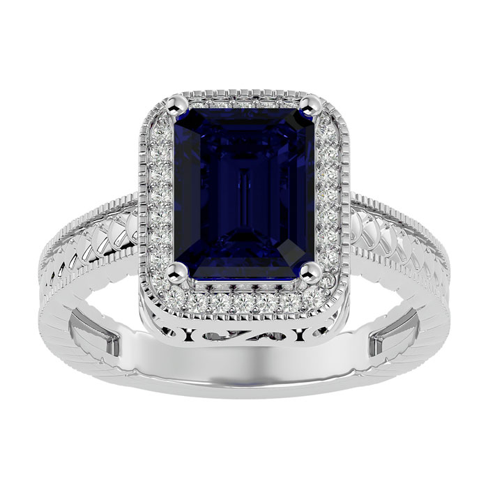 3ct Antique Style Sapphire and Diamond Ring in 14k White Gold