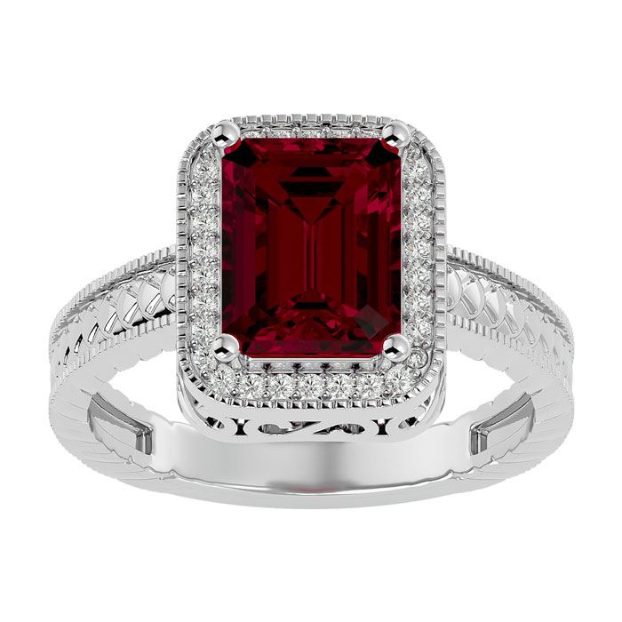 3ct Antique Style Ruby and Diamond Ring in 14k White Gold