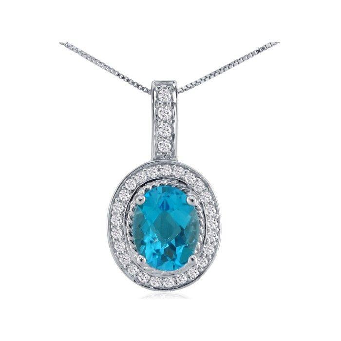 1/2ct Blue Topaz and Diamond Pendant in 14k White Gold 6506