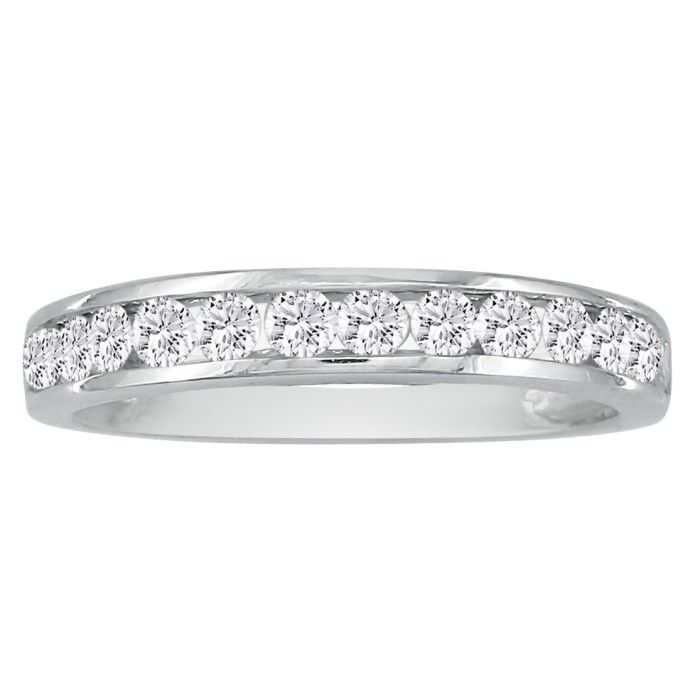 1/2ct Popular Channel Set Diamond Anniversary Band in 10k White Gold