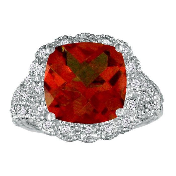Stylish 4 1/2ct Garnet and Diamond Ring in 14k White Gold
