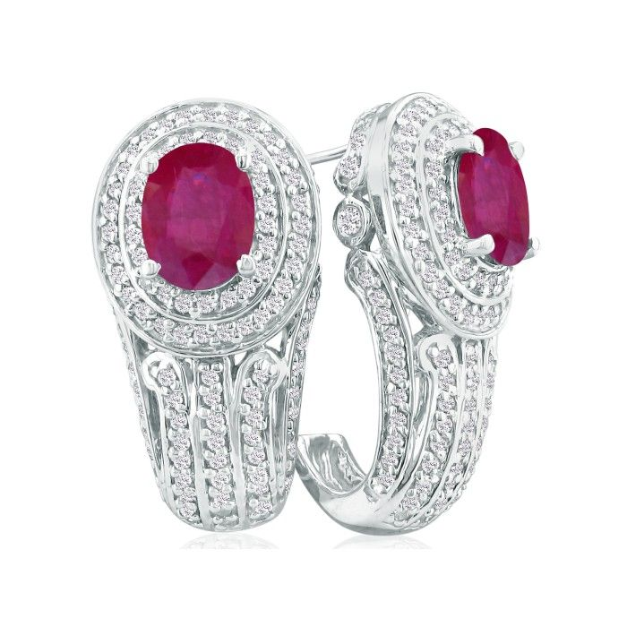 Bold 4 1/4ct Ruby and Diamond Earrings in 14k White Gold