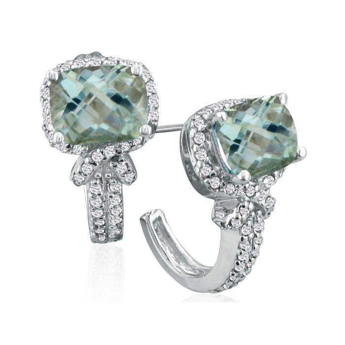 5 1/4 Carat Green Amethyst & Diamond Earrings in 14k White Gold (7.1 g),  by SuperJeweler