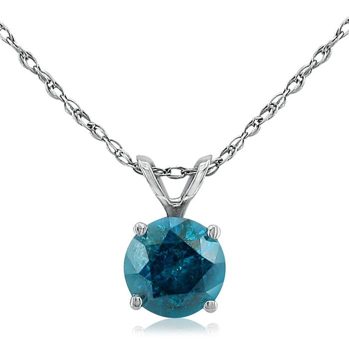 Image of 1/2ct Round Brilliant Cut Blue Diamond Pendant in 14k White Gold