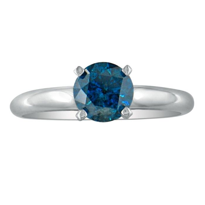 Image of 1/2ct Round Brilliant Cut Blue Diamond Ring In 14k White Gold