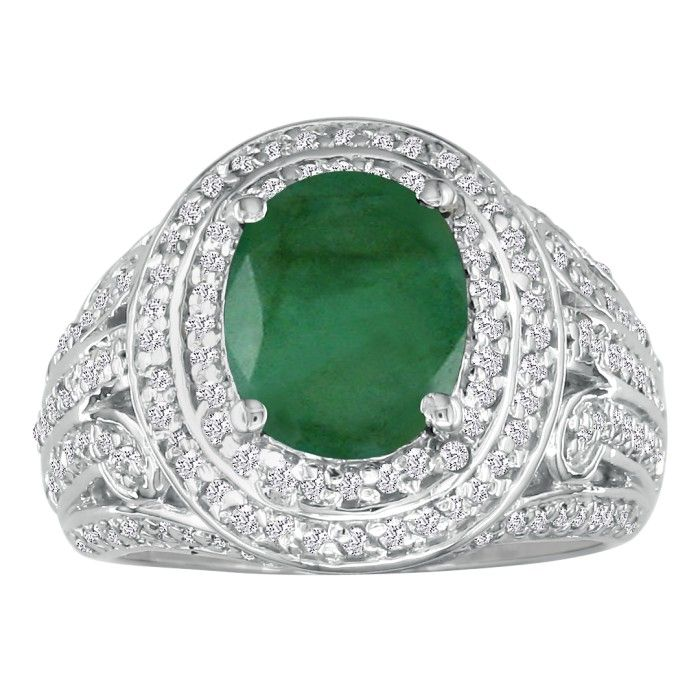 Bold 4 1/3ct Emerald and Diamond Ring in 14k White Gold