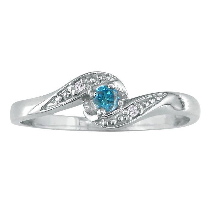 08ct Bypass Blue Diamond Promise Ring in 10k White Gold