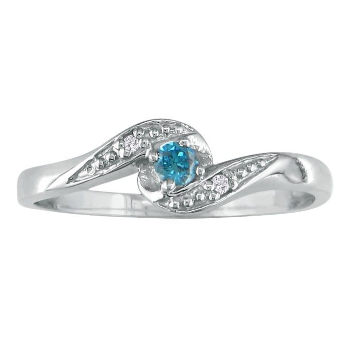 Image of .08ct Blue Diamond Promise Ring in White Gold
