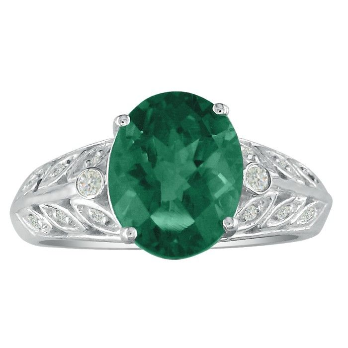 1 1/2ct Emerald and Diamond Ring in 14k White Gold. Beautiful Emerald