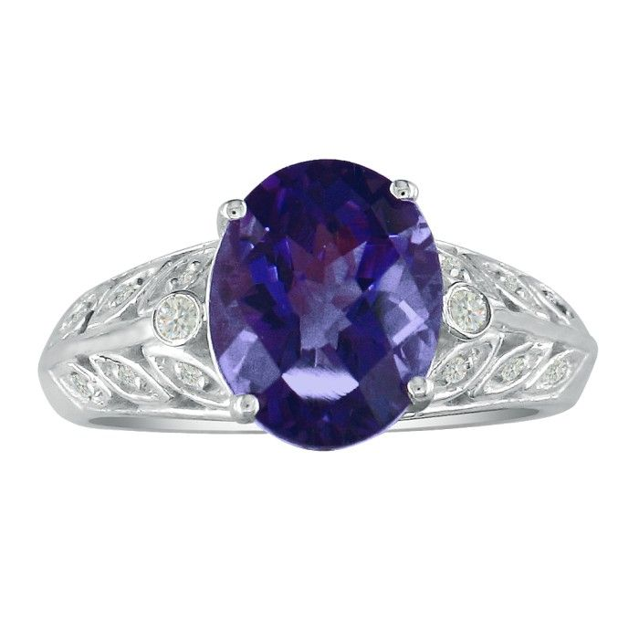 Image of 1 1/2ct Amethyst and Diamond Ring in 14k White Gold. Fantastic Price