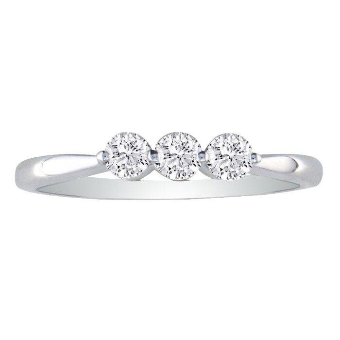 Image of .15ct Three Diamond Promise Ring in 10K White Gold