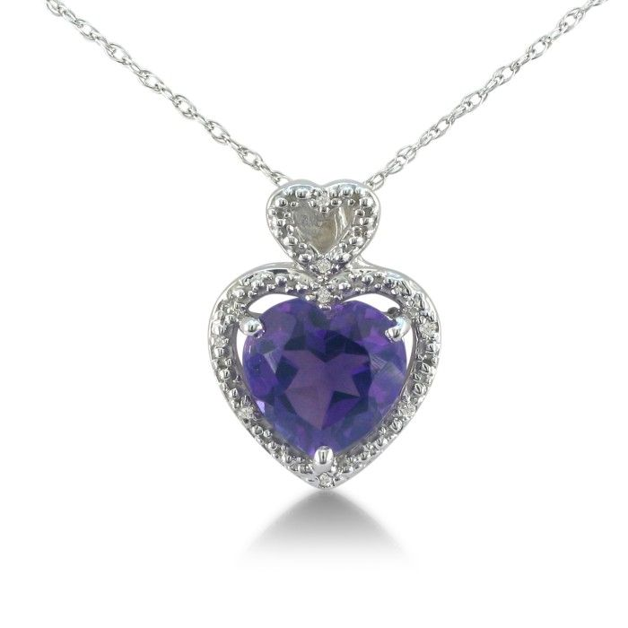 1 3/4ct Amethyst and Diamond Heart Pendant in 10k White Gold 6825