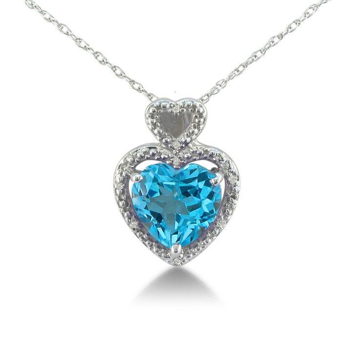 1 3/4ct Blue Topaz and Diamond Heart Pendant in 10k White Gold 6826