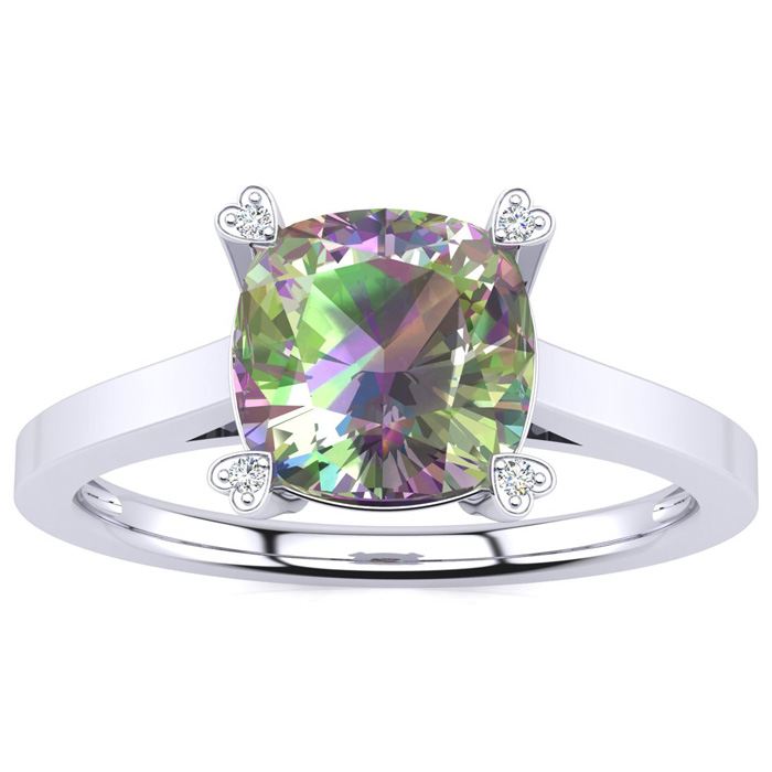 2ct Cushion Mystic Topaz and Diamond Ring in 10k White Gold 6848
