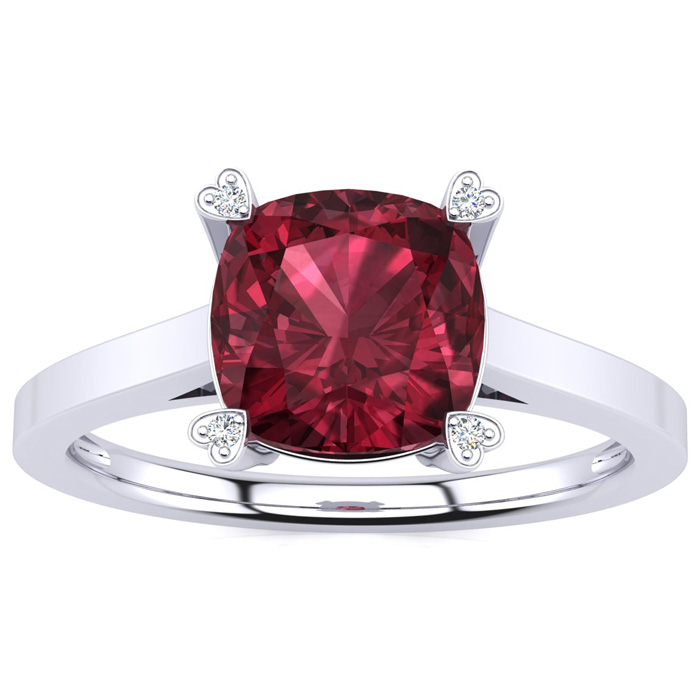 2ct Cushion Cut Garnet and Diamond Ring