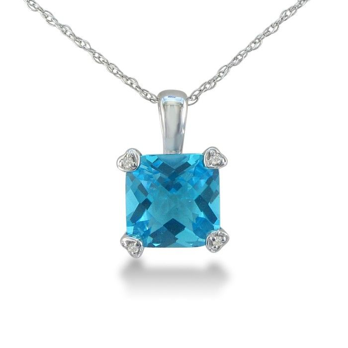 2 Carat Cushion Cut Blue Topaz & Diamond Pendant Necklace in White Gold (1.8 g), , 18 Inch Chain by SuperJeweler