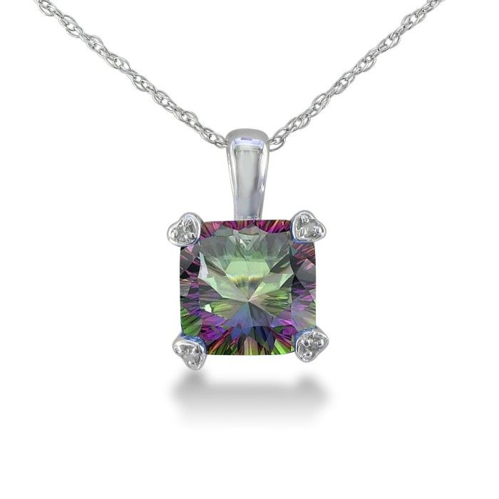 2ct Cushion Mystic Topaz and Diamond Pendant in 10k White Gold 6854