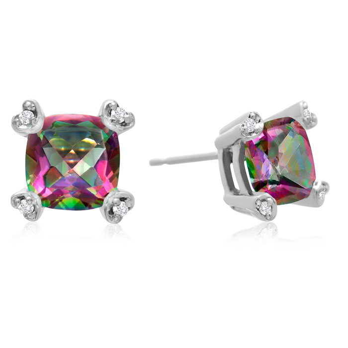 2ct Cushion Mystic Topaz and Diamond Earrings in 10k White Gold 6860