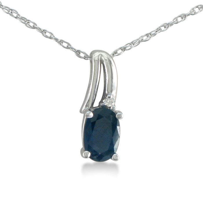 1/2ct Oval Sapphire and Diamond Pendant in 10k White Gold ShopFest Money Saver