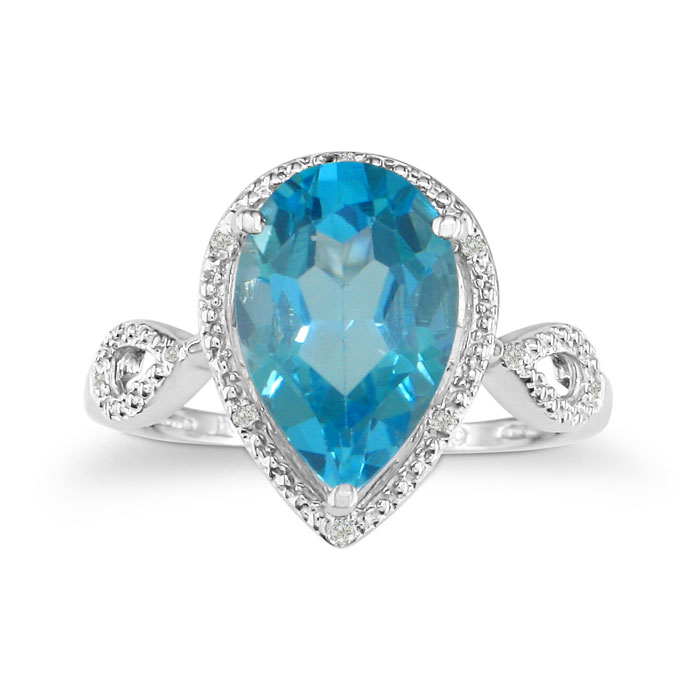 3 1/2 Carat Pear Shaped Blue Topaz & Diamond Ring in White Gold (2.9 g),  by..