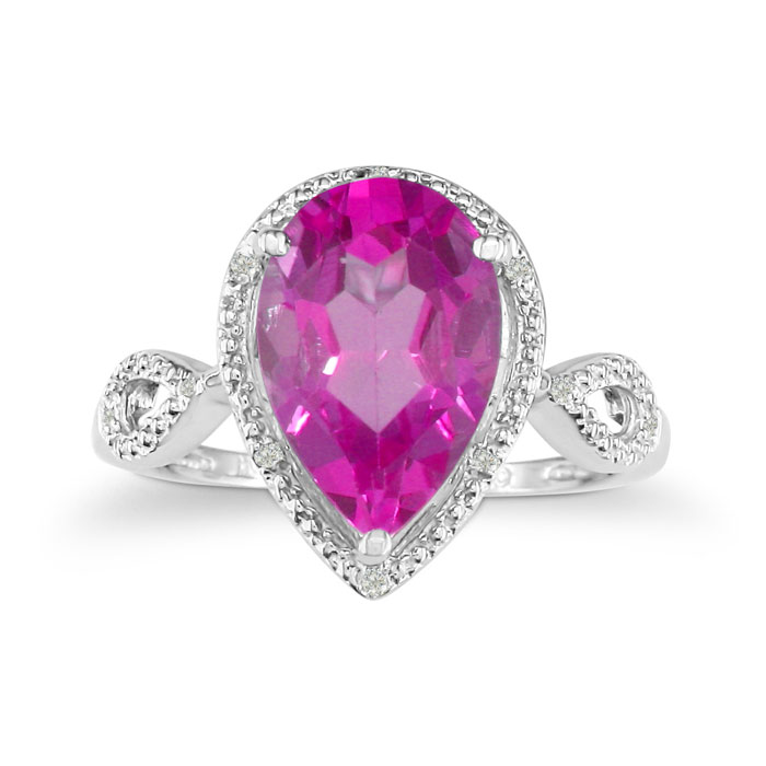 3 1/2ct Pear Shaped Pink Topaz and Diamond Ring in 10k White Gold