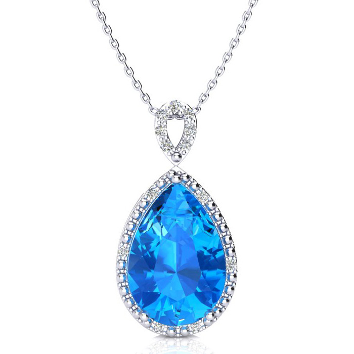 3 1/2 Carat Pear Shaped Blue Topaz & Diamond Necklace in 10K White Gold (2.4..