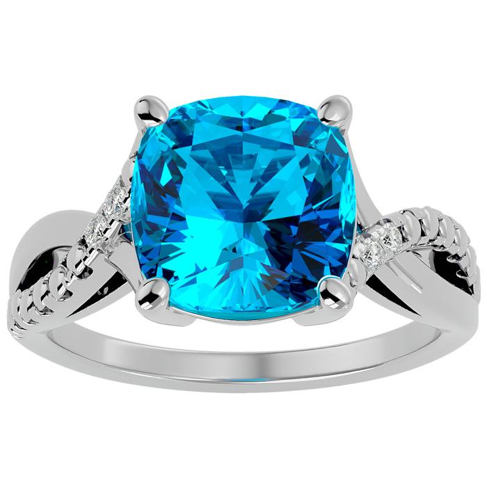 4 Carat Cushion Cut Blue Topaz & Diamond Ring in 10k White Gold (3 g), I/J b..